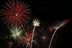 Firweworks Grand Finale. Colorful Fireworks for the Grand Finale with Copy Space Stock Images