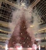 Firworks on Grand tree lighting celebration feat Galleria. Fireworks on Grand tree lighting celebration feat holiday Galleria Dallas TX USA 2017 Stock Images