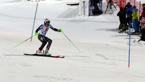 FIS Alpine Ski World Cup 2019 Schladming, Henrik Kristorffersen, Norway. Henrik Kristorffersen competing in the FIS Alpine Ski World Cup Night Slalom in royalty free stock photography