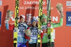 FIS Ski Jumping World Cup in Zakopane. ZAKOPANE, POLAND - JANUARY 24, 2016: FIS Ski Jumping World Cup in Zakopane o/p  Michael Hayboeck Austria, Stefan Kraft Royalty Free Stock Images