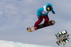 FIS Snowboard Big Air World Cup. ISTANBUL, TURKEY - DECEMBER 20, 2014: Cheryl Maas jump in FIS Snowboard World Cup Big Air. This is first Big Air event for both Stock Photography