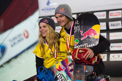 FIS Snowboard Big Air World Cup. ISTANBUL, TURKEY - DECEMBER 20, 2014: Ty Walker and Seppe Smits in podium of FIS Snowboard World Cup Big Air. This is first Big Stock Images