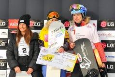 FIS Snowboard-Weltcupsnowboard-Kreuz Stockfoto