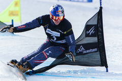 FIS Snowboard World Championships 2013, Stoneham. STONEHAM, QUEBEC - JANUARY 27:  6th place, Parallel slalom KARL Benjamin AUT,  FIS Snowboard World Royalty Free Stock Image