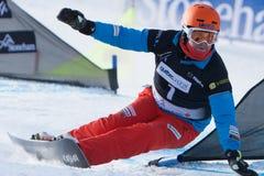 FIS Snowboard World Championships 2013, Stoneham. STONEHAM, QUEBEC - JANUARY 27: 7th place, Parallel slalom FLUETSCH Kaspar SUI, FIS Snowboard World Royalty Free Stock Photography