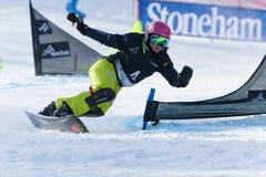 FIS Snowboard World Championships 2013, Stoneham. STONEHAM, QUEBEC - JANUARY 27: 11th place, Parallel slalom MUELLER Stefanie SUI, FIS Snowboard World Stock Photo