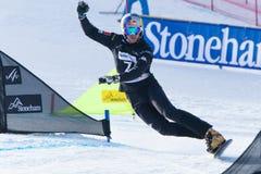 FIS Snowboard World Championships 2013, Stoneham. STONEHAM, QUEBEC - JANUARY 27: Third place, Parallel slalom FISCHNALLER Roland ITA, FIS Snowboard World Stock Image