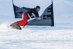 FIS Snowboard World Championships 2013, Stoneham. STONEHAM, QUEBEC - JANUARY 27: Second place, Parallel slalom KUMMER Patrizia SUI, FIS Snowboard World Royalty Free Stock Images