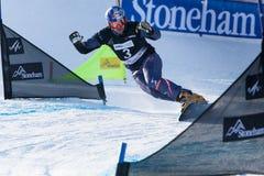 FIS Snowboard World Championships 2013, Stoneham. STONEHAM, QUEBEC - JANUARY 27: 6th place, Parallel slalom KARL Benjamin AUT, FIS Snowboard World Championships Royalty Free Stock Image