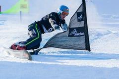 FIS Snowboard World Championships 2013, Stoneham. STONEHAM, QUEBEC - JANUARY 27: 8th place, Parallel slalom GALMARINI Nevin SUI, FIS Snowboard World Stock Photo