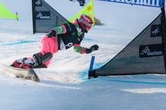 FIS Snowboard World Championships 2013, Stoneham. STONEHAM, QUEBEC - JANUARY 27: First place, Parallel slalom TUDEGESHEVA Ekaterina RUS, FIS Snowboard World Royalty Free Stock Images