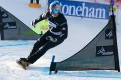 FIS Snowboard World Championships 2013, Stoneham. STONEHAM, QUEBEC - JANUARY 27: Third place, Parallel slalom FISCHNALLER Roland ITA, FIS Snowboard World Stock Photo
