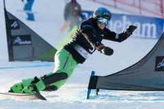 FIS Snowboard World Championships 2013, Stoneham. STONEHAM, QUEBEC - JANUARY 27: Second place, Parallel slalom KUMMER Patrizia SUI, FIS Snowboard World Stock Image