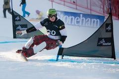 FIS Snowboard World Championships 2013, Stoneham. STONEHAM, QUEBEC - JANUARY 27: First place, Parallel slalom TUDEGESHEVA Ekaterina RUS, FIS Snowboard World Stock Images