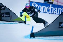 FIS Snowboard World Championships 2013, Stoneham. STONEHAM, QUEBEC - JANUARY 27: Third place, Parallel slalom KOBER Amelie GER, FIS Snowboard World Championships Stock Images