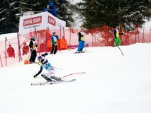 FIS World cup Adelboden Switzerland. Sunday first run Royalty Free Stock Photo