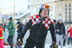 FIS World Snow Day in Zagreb. ZAGREB, CROATIA - JANUARY 15, 2017 : FIS World Snow Day for kids with free skiing and snowboarding lessons on the ski slope in Stock Photos