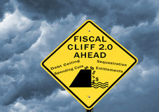 Fiscal cliff 2.0. Fiscal cliff warning sign for the next round of debate over the debt ceiling in March 2013 Royalty Free Stock Photos