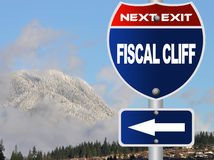 Fiscal cliff road sign. With nature background Royalty Free Stock Image