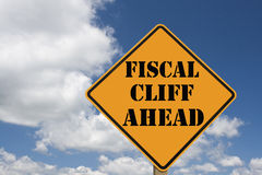 Fiscal cliff sign. Fiscal cliff roadsign with clipping path at original size Stock Photography