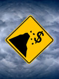 Fiscal Cliff Sign, Storm Clouds in Sky. Seen here is a road sign warning sign bringing attention to the national crisis and the fiscal cliff. While the president Stock Image