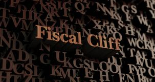 Fiscal Cliff - Wooden 3D rendered letters/message. Can be used for an online banner ad or a print postcard Stock Images