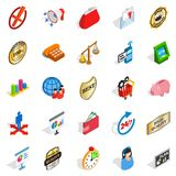 Fiscal icons set, isometric style Royalty Free Stock Images