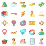 Fiscal officer icons set, cartoon style Royalty Free Stock Image