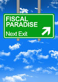 Fiscal paradise road sign. Or tax free concept Stock Image