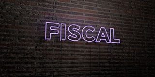 FISCAL -Realistic Neon Sign on Brick Wall background - 3D rendered royalty free stock image Royalty Free Stock Photo