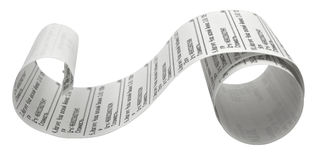 Fiscal receipt. Isolated on white background. Clipping path included Royalty Free Stock Photography
