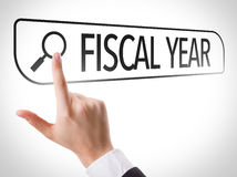 Fiscal Year written in search bar on virtual screen Royalty Free Stock Images
