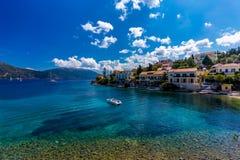 Fiscardo en la isla de Kefalonia en Grecia Foto de archivo libre de regalías