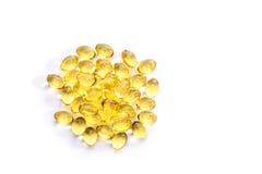 Fischölkapsel, Omega 3-6-9 weiche Gelkapseln des Fischöl-Gelbs Stockbild
