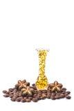 Fischölkapsel, Omega 3-6-9 weiche Gelkapseln des Fischöl-Gelbs, Sacha-inchi Öl, gelbe Ölpillen in der lichtdurchlässigen Flasche  Lizenzfreie Stockfotos