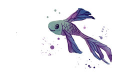 Fisch-Aquarell-Blau Lizenzfreies Stockfoto