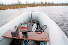 Fisch-Finden des Echolots Stockfotos