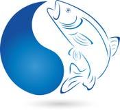 Fisch-, Forellen- und Wassertropfen, Fische und Fischenlogo Stockfoto