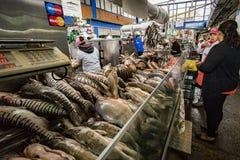 Fisch-Händler im Paloquemao-Markt stockbild