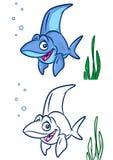 Fisch-Haifischkarikatur Illustrationen Stockfoto