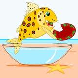 Fisch isst einen Teller Stockfotos
