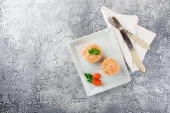Fisch-Muffins mit Lachsen Lizenzfreie Stockbilder