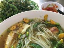 Fisch-Nudelsuppe Chau Doc. Lizenzfreie Stockfotos