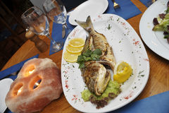 Fisch platter. Delicious Fish, served on nicely decorated table Stock Images