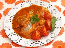 Fisch. Some fish with a sauce of tomatoes royalty free stock photography