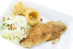 Fisch-Steak und Salat Lizenzfreie Stockfotografie