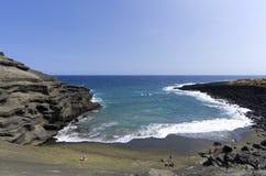 Fischaugenansicht des grünen Sand-Strandes Lizenzfreies Stockbild