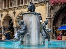 Fischbrunnen fountain in Marienplatz in Munich. Germany royalty free stock photo