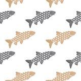 Fische übergeben gezogenes Muster Lachs-, Graue und Beigegegenstände lokalisiert auf Weiß Lizenzfreie Stockfotos