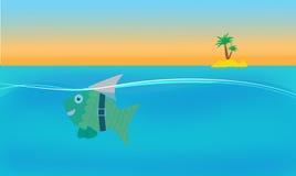Fische als Haifischwitz lizenzfreie abbildung